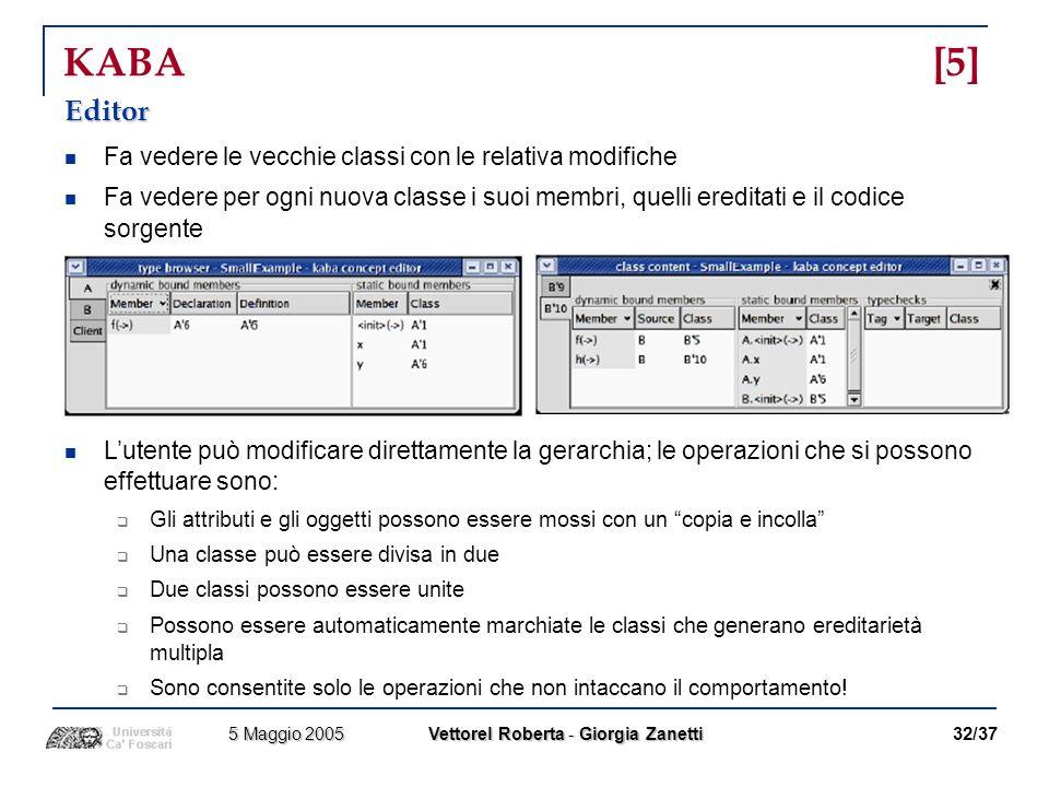 KABA [5] Editor Fa vedere le vecchie classi con le relativa modifiche